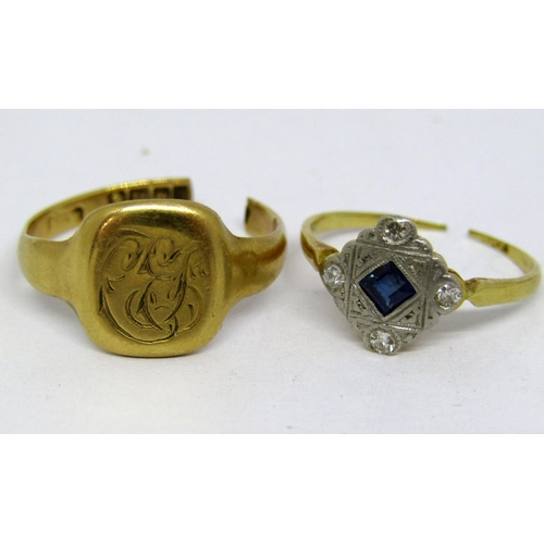266 - Two 18ct rings; Art Deco sapphire and diamond example and a signet, 6g total (both cut) (2)...
