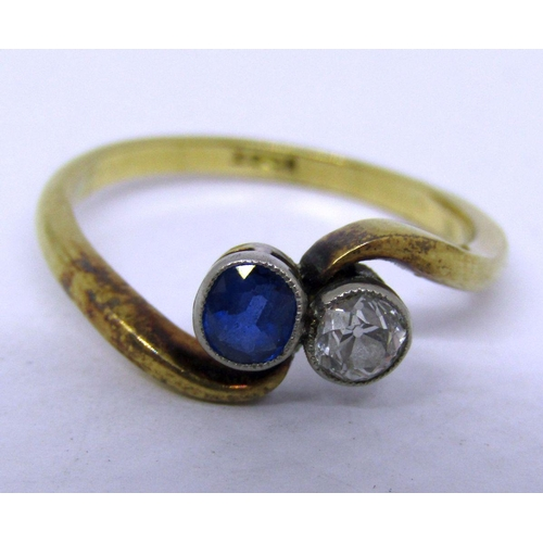 271 - 18ct sapphire and diamond crossover ring, stones 0.20cts each approx, size K/L, 2.4g...