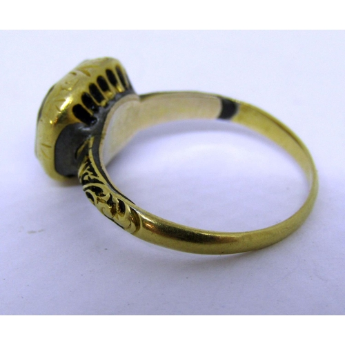 272 - 17th century Stuart crystal ring with gold thread monogram, in yellow metal, size L/M, 3.3g (soldere...