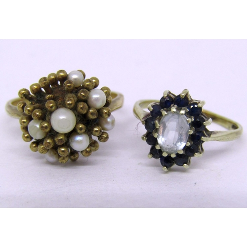 296 - Two 9ct cluster dress rings, 8.4g total (two pearls vacant) (2)...