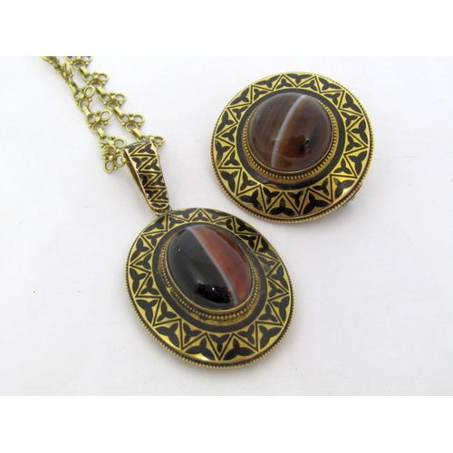 297 - Victorian yellow metal mourning pendant and matching brooch, set with cabochon banded agate and with...