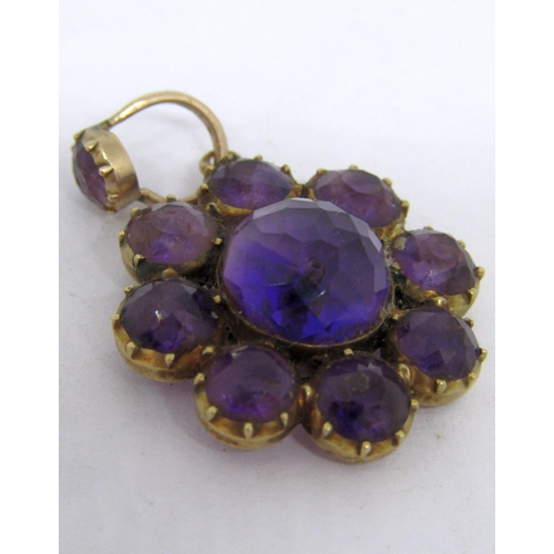 298 - Victorian yellow metal and rose cut amethyst flower head pendant, with locket compartment verso, 3.3...