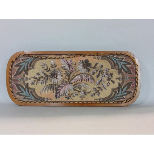 Late Victorian beadwork tray decorated with a floral spray with acanthus framing, rope braiding to the rim, set within a walnut frame with marquetry band, 60 cm long