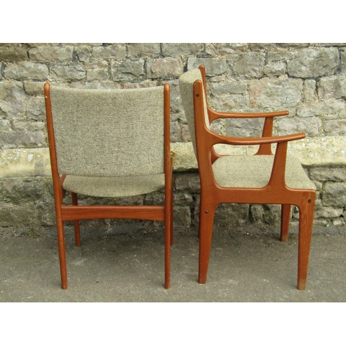 2008 - A set of 8 (6+2) mid-20th century dining chairs with dished upholstered pad seats and backs within m...