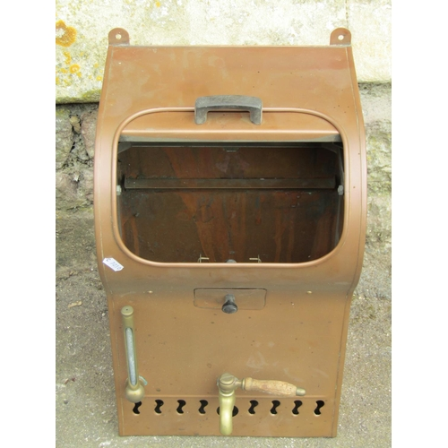 2013 - A vintage copper wall mounted water heater (?) with brass tap and fittings...