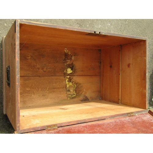 2017 - A large 19th century stained pine box with hinged lid and drop side carrying handles, 92cm long x 55...