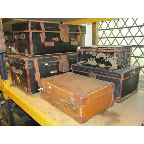 2035 - Three similar vintage fibre and stitched leather reinforced luggage cases, varying size, one other a...