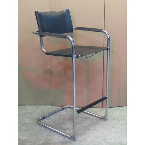 2053 - A set of four chair back high stools, in the LOe Corbusier style with faux stitched leather strap se...