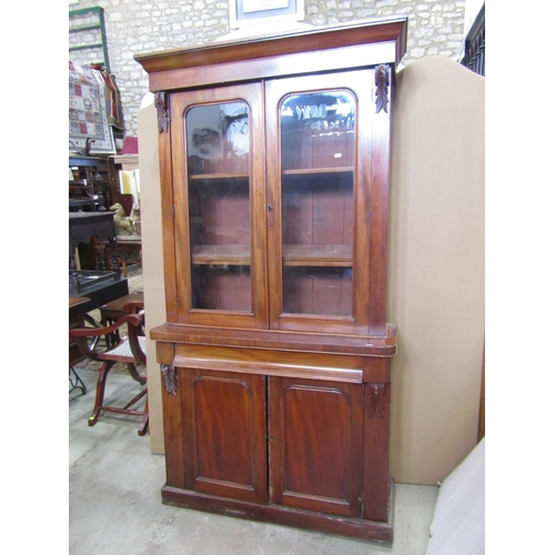 2007 - A Victorian mahogany veneered two sectional chiffonier bookcase (af) 110cm wide x 34cm deep x 200cm ...