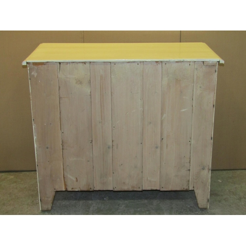 2049 - An Edwardian pine bedroom chest of three long graduated drawers raised on bracket shaped supports (p...