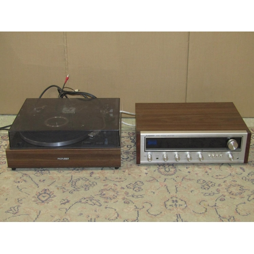 2002 - A Pioneer record player model PL-120-II, together with a further Pioneer stereo receiver model SX-43...