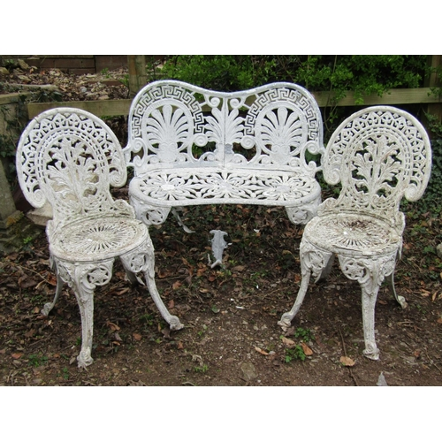 1 - A small aluminium two seat garden bench in a Regency style together with two further aluminium terra...