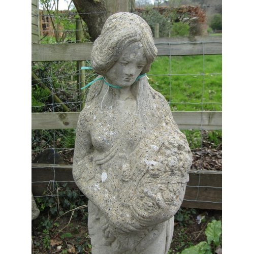 10 - Reclaimed figure of a maiden with flowers set on a square cut base 110 cm in height...