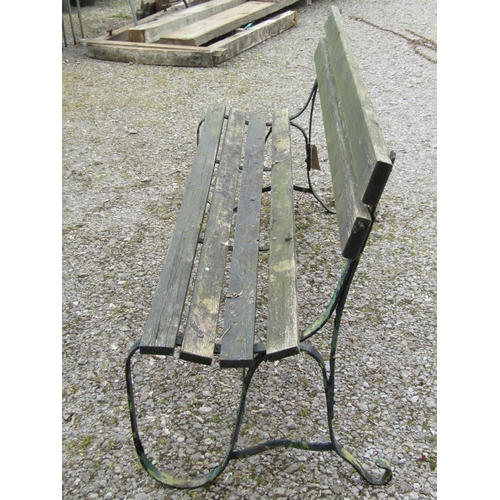 12 - Sprung steel garden bench with timber lathes 182 cm in length...