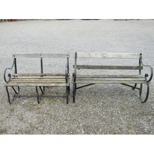 14 - Two sprung steel garden benches with timber lathes 122 cm x 100 cm (AF)...