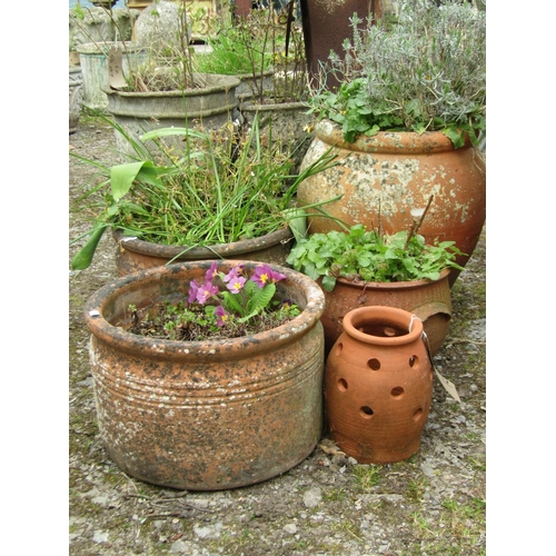 17 - A pair of cylindrical terracotta pots, 38 cm diameter, further oviform terracotta pot and two others...