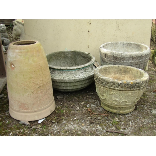 19 - A rhubarb forcer and three various decorative garden pots...