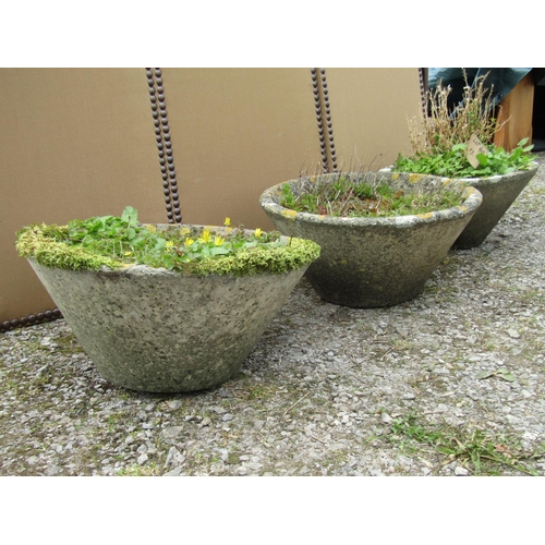 40 - Three reclaimed conical shaped pots, 53 cm diameter (one slightly smaller)...