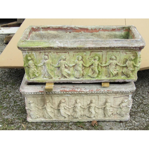 41 - A pair of reclaimed rectangular planters moulded with classical relief dancing characters, 75 cm len...