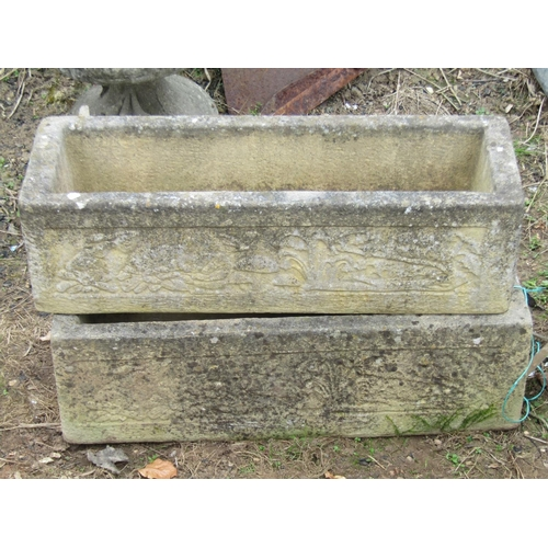 44 - Three reclaimed garden troughs of rectangular form, the larges 75 cm in length, the pair 60 cm...