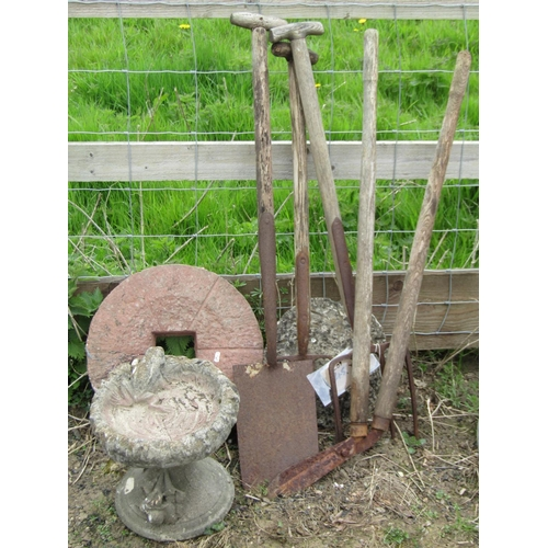 45 - A grind wheel, a reclaimed bird bath with frog detail, a few vintage garden tools, etc...