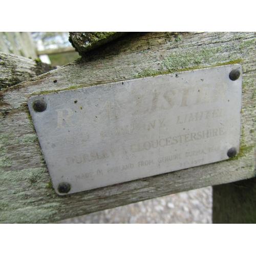 54 - A small Lister teakwood garden bench, 128 cm wide...