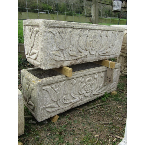 56 - Five reclaimed garden troughs with foliate detail, matching design, various lengths, 100 cm to 80 cm...