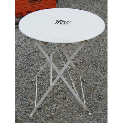57 - A simple cafe table with folding frame, 60 cm diameter...