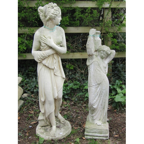 6 - Reclaimed figure of a classical maiden 120 cm in height, together with a further figure of a female ...