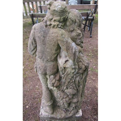 7 - Reclaimed figure of two lovers standing on a square cut plinth, 120 cm approx...