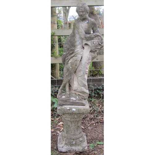 9 - Reclaimed figure classical female with a water pitcher raised on a fluted stand 120 cm high...