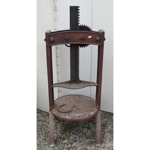 49 - Victorian cast iron cheese press with ratchet mechanism, 100 cm in height approximately...