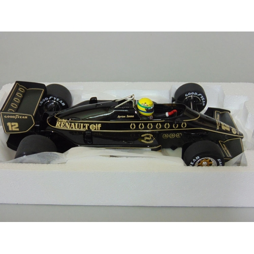 1 - Minichamps 1985 Ayrton Senna Lotus Renault 97T, Formula 1 model racing car, by Pauls Model Art, 1:18...