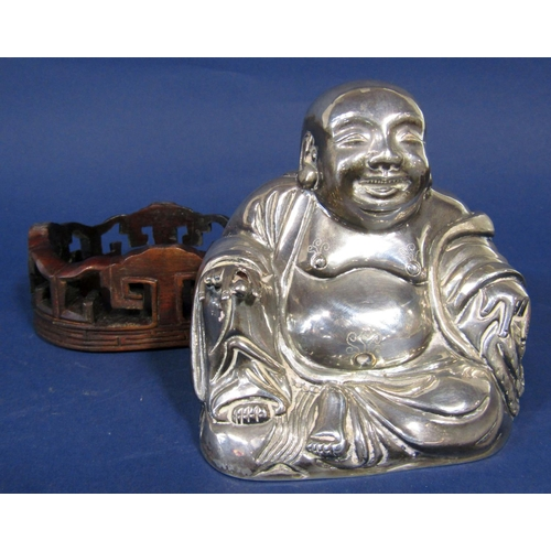 1301 - Good quality Chinese silver hollow cast Buddha with Chinese hallmarks to base, 10 cm high, 7 oz appr...