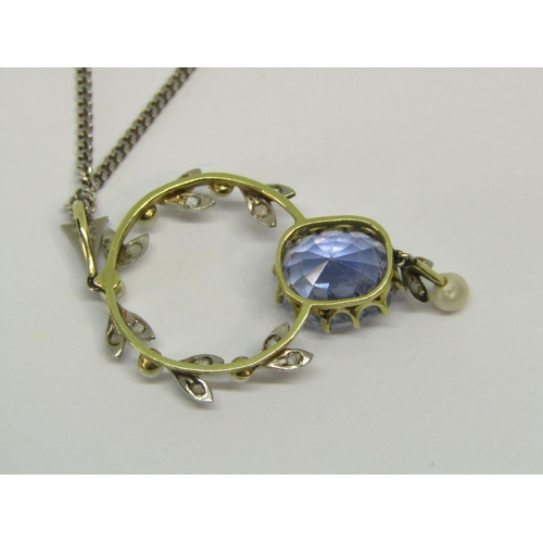 1369 - Good quality Edwardian sapphire, rose cut diamond and seed pearl pendant, the sapphire measuring 7.6...