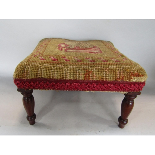 Victorian wool work stool upon four turned mahogany legs the top decorated with seated cat, 28cm long x 20cm high