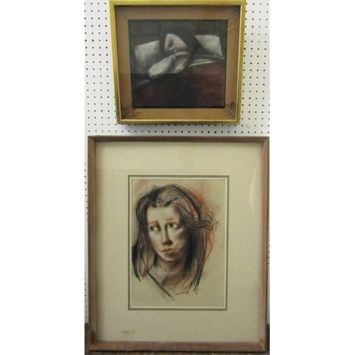 212 - P F Millard (20th century British school) - Shoulder length portrait of a young woman, charcoal and ...