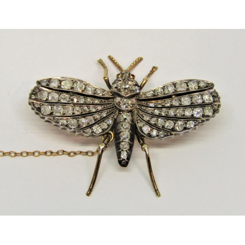 1339 - Fine Victorian butterfly brooch set with graduated diamonds and ruby eyes, 4.5 W x 3.9cm L approx, c...