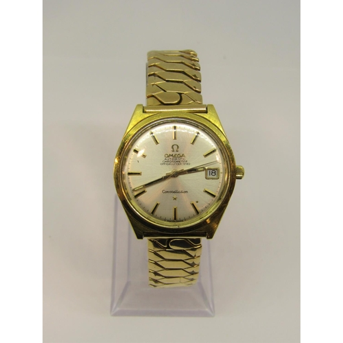 1509 - Gents 18ct Omega constellation automatic Chronometer gents wristwatch, the champagne dial with baton...
