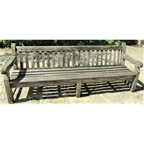 1 - Good quality weathered teak park bench, 240cm long