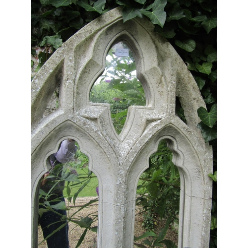 22 - A Gothic style niche window with moulded detail incorporating mirror panels, (composite) 145cm high ...