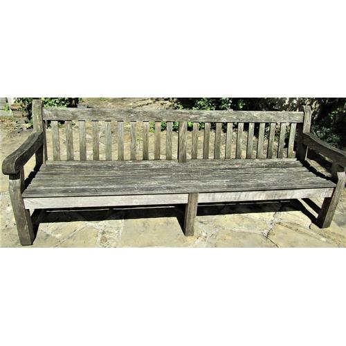 3 - Good quality weathered teak park bench, 240cm long