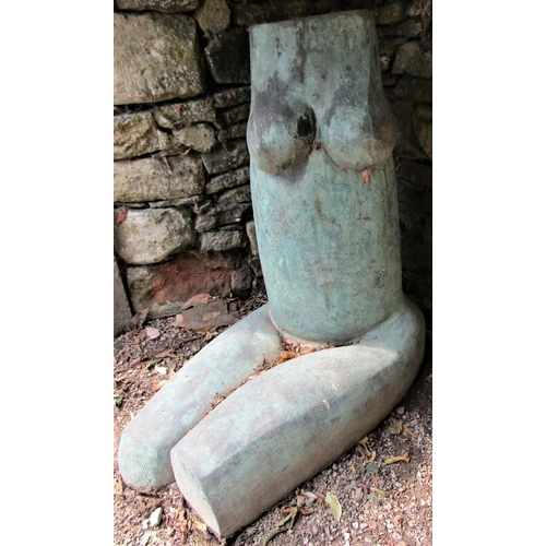 48 - A composite moulded sculpture of a female torso, with Verdigris effect, 75cm high