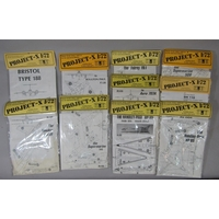 10 Project X 1:72 scale vacuum formed model aircraft kits made by Maintrack Hangar Productions, all un-started in sealed packs, featuring models from British research, prototypes and incomplete projects (10)
