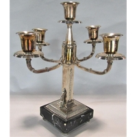 Good quality silver plated aesthetic period four branch candelabra with scrolled square branches with simulated twine detail and stepped square darted and veined black marble base, 37 cm high