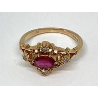 9ct ruby and diamond quatrefoil ring, size K/L, 2.2g