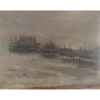 Anthony Devas ARA, RP, NOAC (British 1911-1958) - Study of a coastal scene with pier on a grey day, oil on canvas, signed, 25 x 36cm, unframed