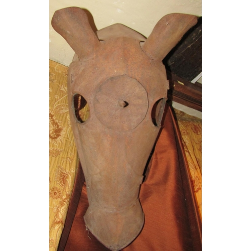 185 - A medieval style armour plated head piece for a war horse