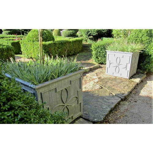 8 - A pair of high quality Georgian style lead planters of square cut form with repeating geometric deta...