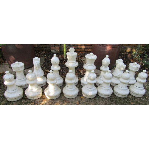 45 - A set of large plastic chess pieces (full set) for garden use